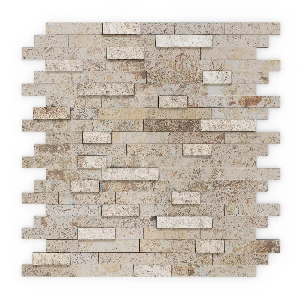 sandy mixed tan 11 77 inch x 11 57 inch x 8 mm stone self adhesive wall mosaic tile
