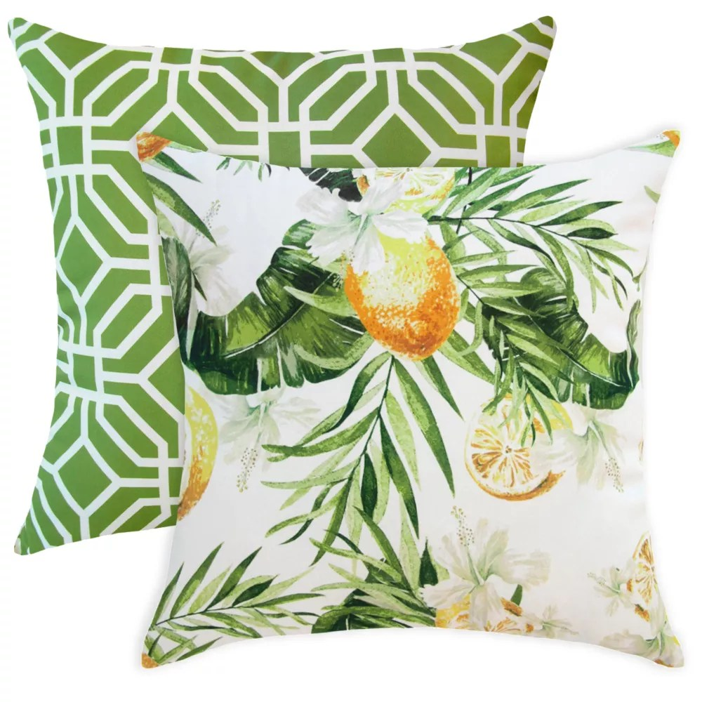 20 inch x 20 inch lemons and palms outdoor throw pillow set of 2