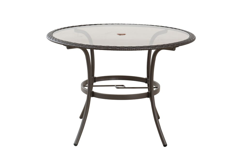 mix and match 42 inch round wicker and glass patio dining table