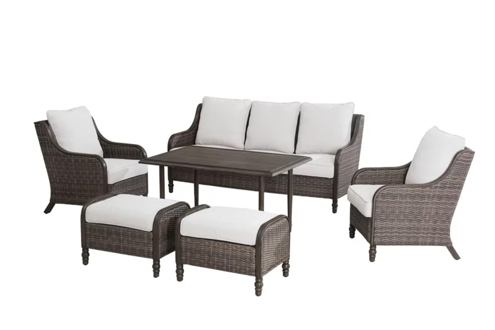windsor 6 piece all weather wicker patio conversation set with beige cushions
