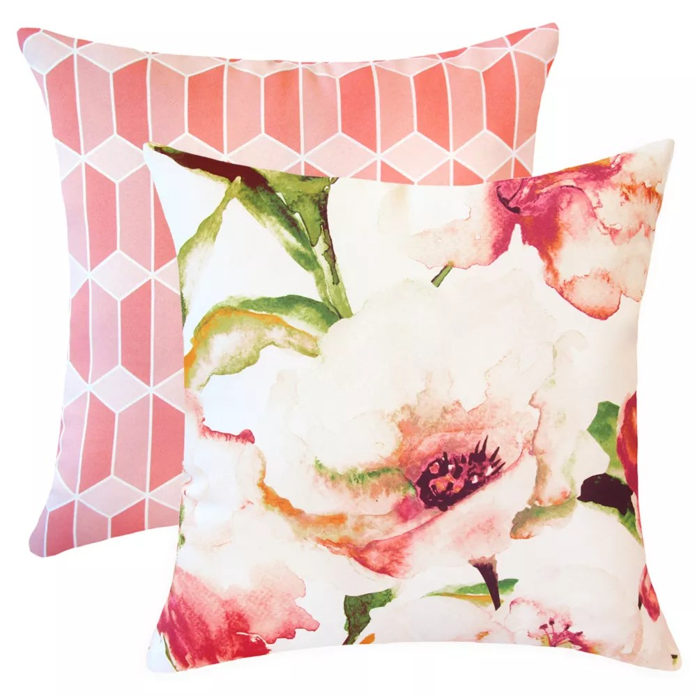 20 inch x 20 inch spring blooms outdoor throw pillow set of 2