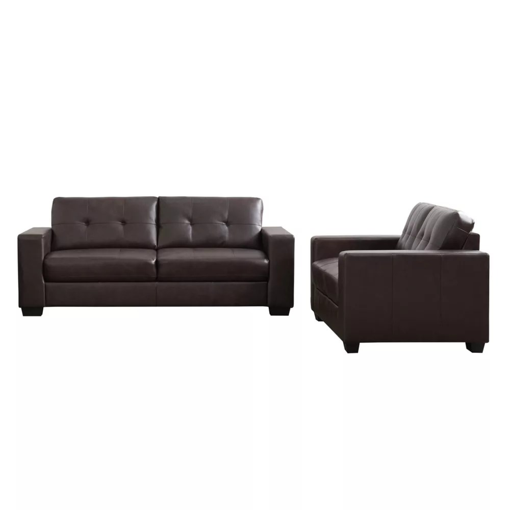 2 piece tufted seat and backrest chocolate brown bonded leather sofa set