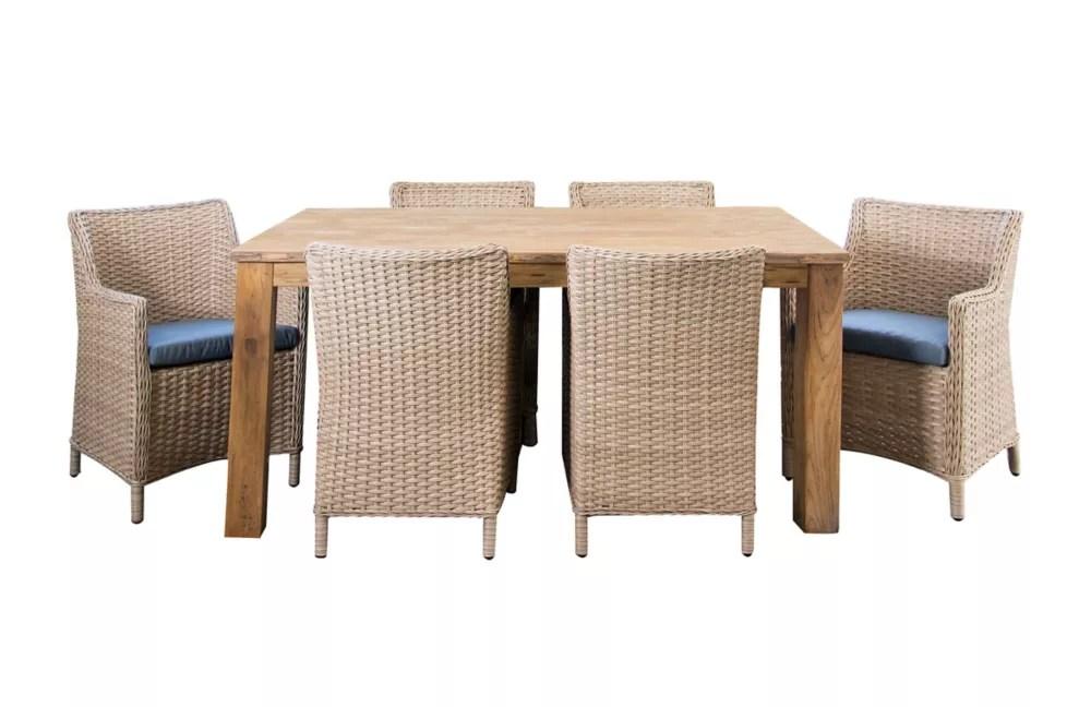 ensemble table et chaises de jardin avec coussins en denim bali 7 pieces