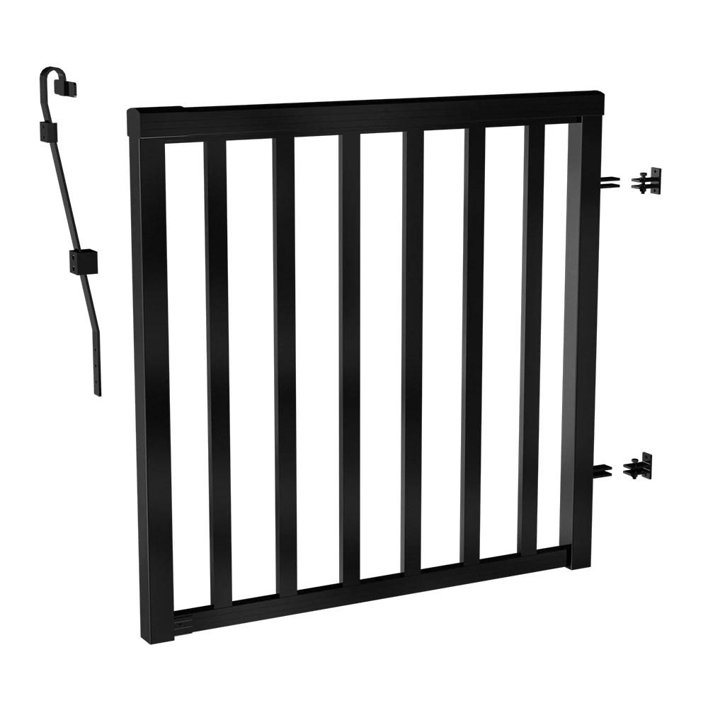 42 inch h aluminum deck railing wide picket gate in matte black