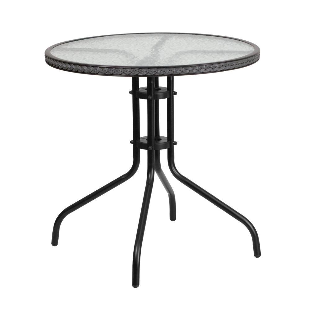 table ronde de 28 po en metal et verre trempe avec bordure en rotin gris