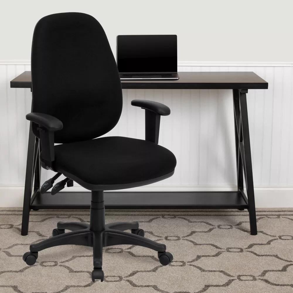 chaise executive pivotante et ergonomique a dossier haut en tissu noir avec appuis bras reglables
