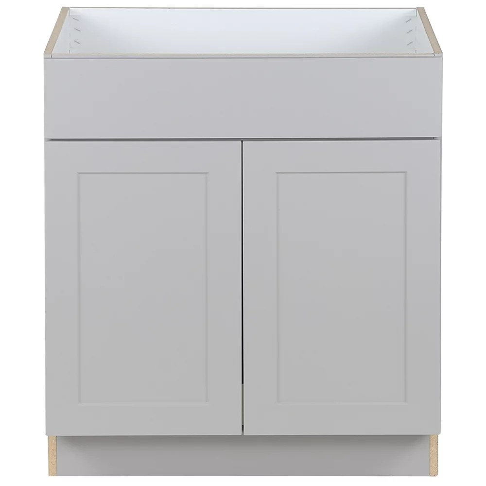edson 30 inch w x 34 5 inch h x 24 5 inch d shaker style assembled kitchen sink base cabinet cupboard in taupe grey bs30