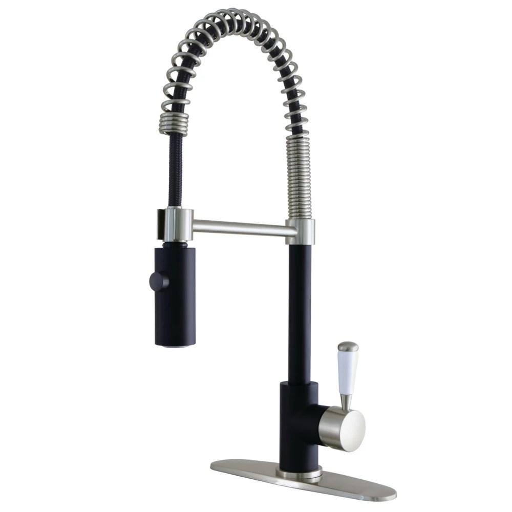 paris single handle pull down sprayer kitchen faucet in matte black brushed nickel