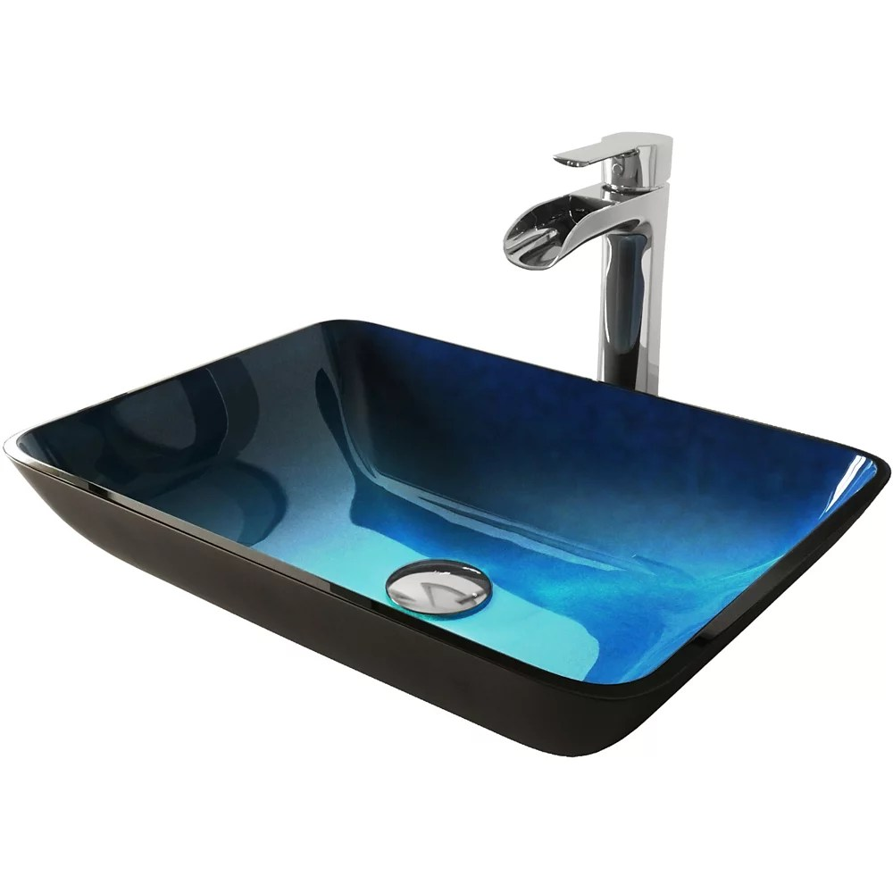 glass vessel bathroom sink in turquoise water and niko faucet set in chrome