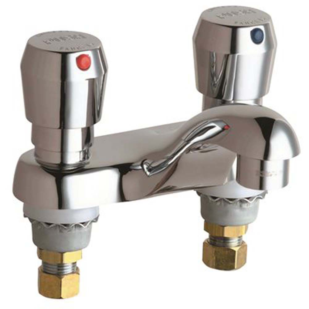 4 inch centerset 2 handle low arc bathroom faucet in chrome with metering push button handles