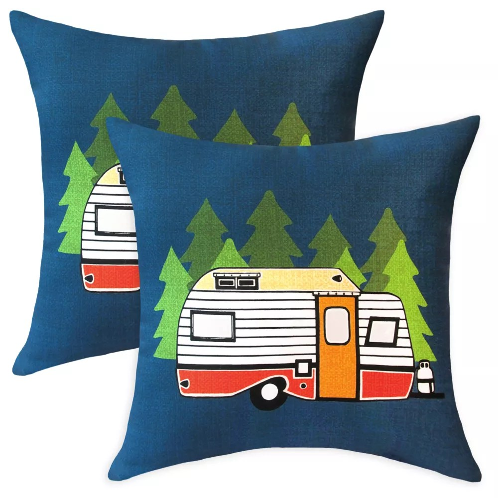 20 inch x 20 inch camper outdoor throw pillow set of 2