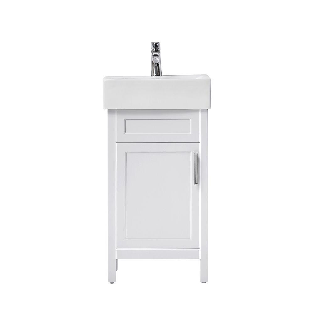 arvesen 18 inch w vanity in white with ceramic vanity top in white with white sink