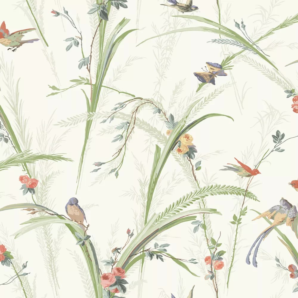 Chesapeake Meadowlark Light Green Botanical Wallpaper The Home Depot Canada