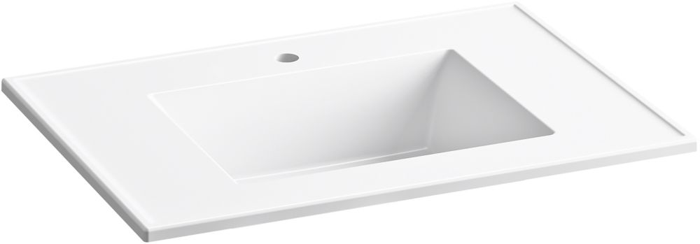 ceramic impressions 31 inch rectangular vanity top bathroom sink with single faucet hole in white