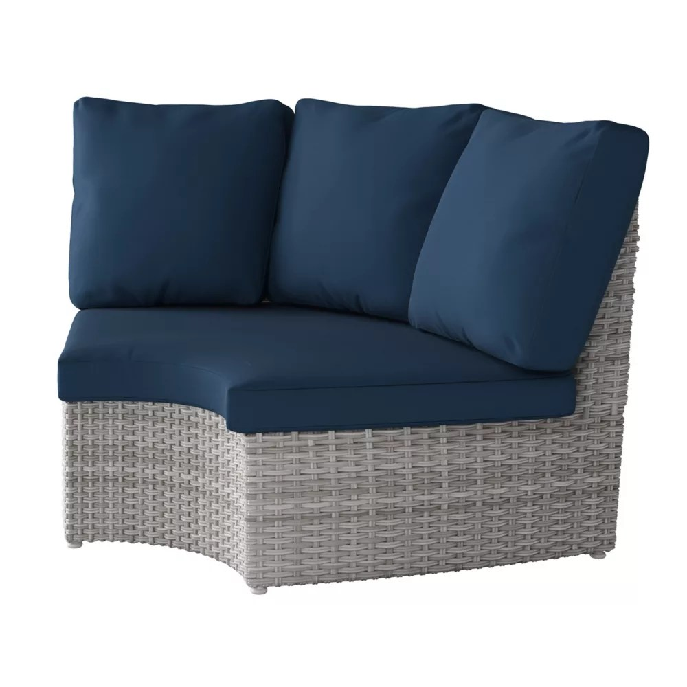 weather resistant resin wicker curved corner patio chair blended grey with navy blue