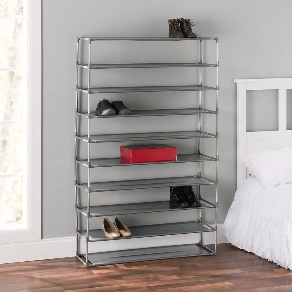 50 pair non woven multi purpose stackable free standing shoe rack grey