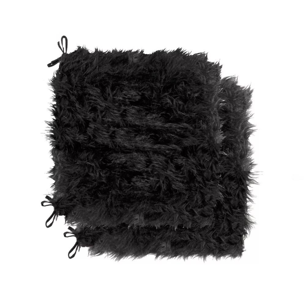 tapis de chaise en fausse fourrure laredo noir 2 pqt