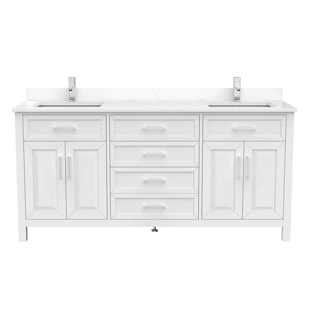 terrence 72 inch w x 22 inch d white vanity with white stone top with white sink and power bar organizer