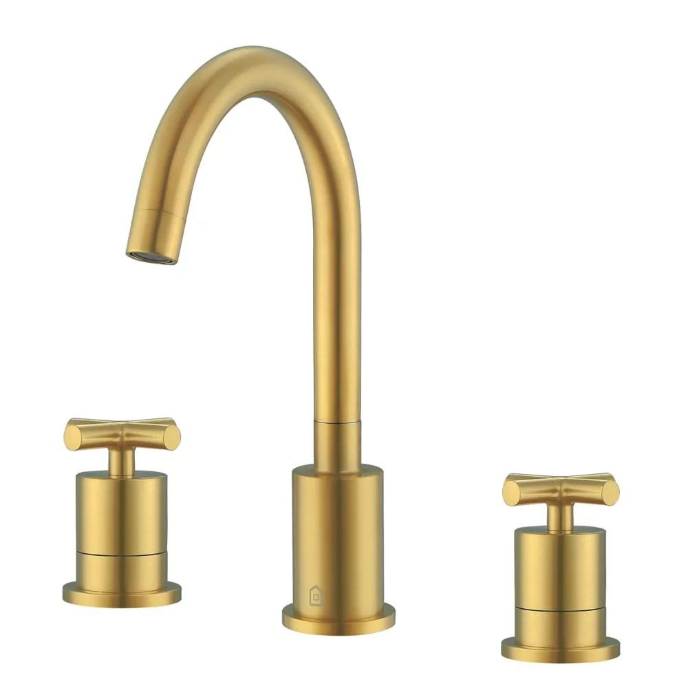 ava 8 inch widespread cross 2 handle bathroom faucet in titanium gold finish