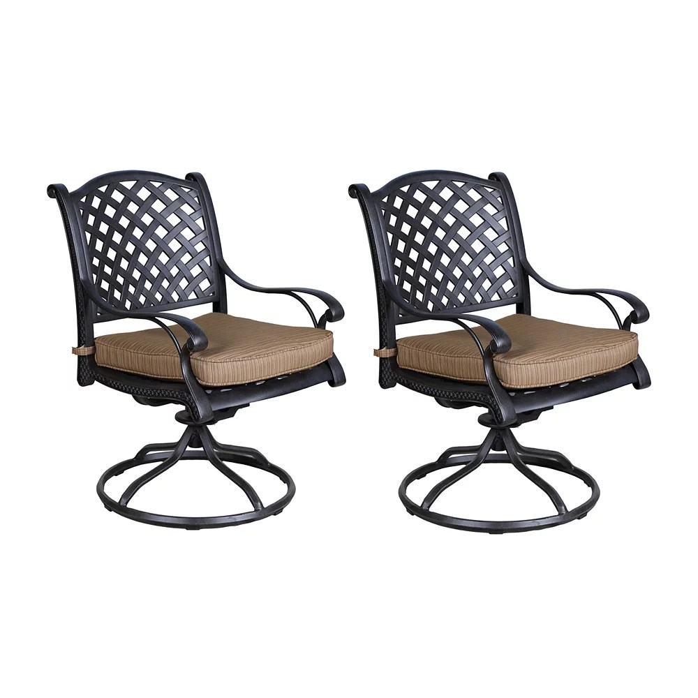 outdoor cast aluminum swivel rockers with cushions set of 2