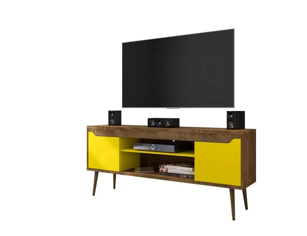 meuble tv bradley 62 99 en brun rustique et jaune