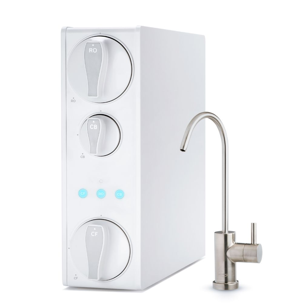 tankless reverse osmosis water filtration system smart faucet 2 1 pure to drain ratio 500 gpd