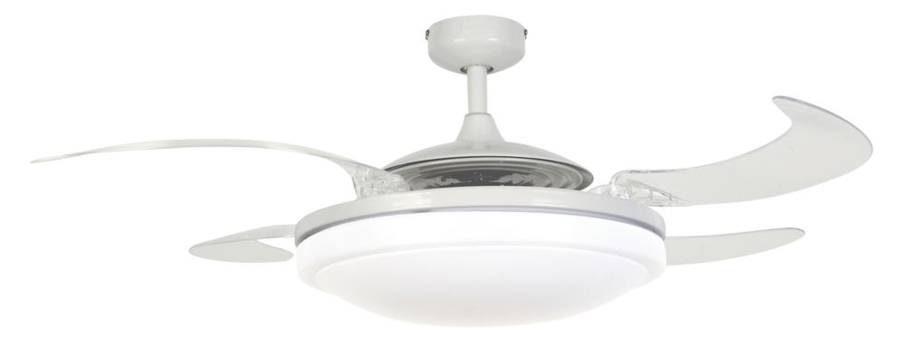evo2 white retractable 4 blade lighting with remote ceiling fan