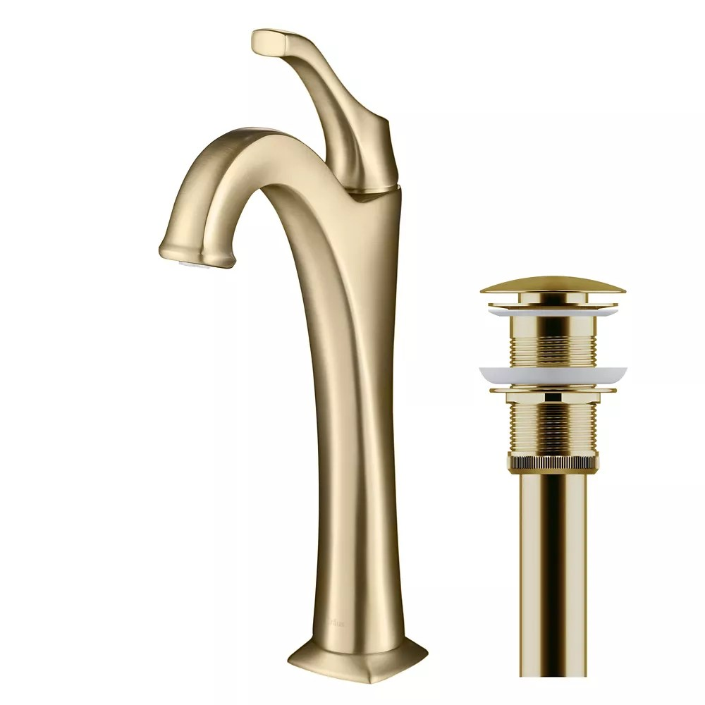 arlo brushed gold tall vessel bathroom faucet with pop up drain