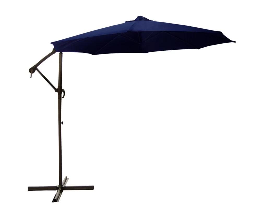10ft offset outdoor patio umbrella with hand crank navy blue