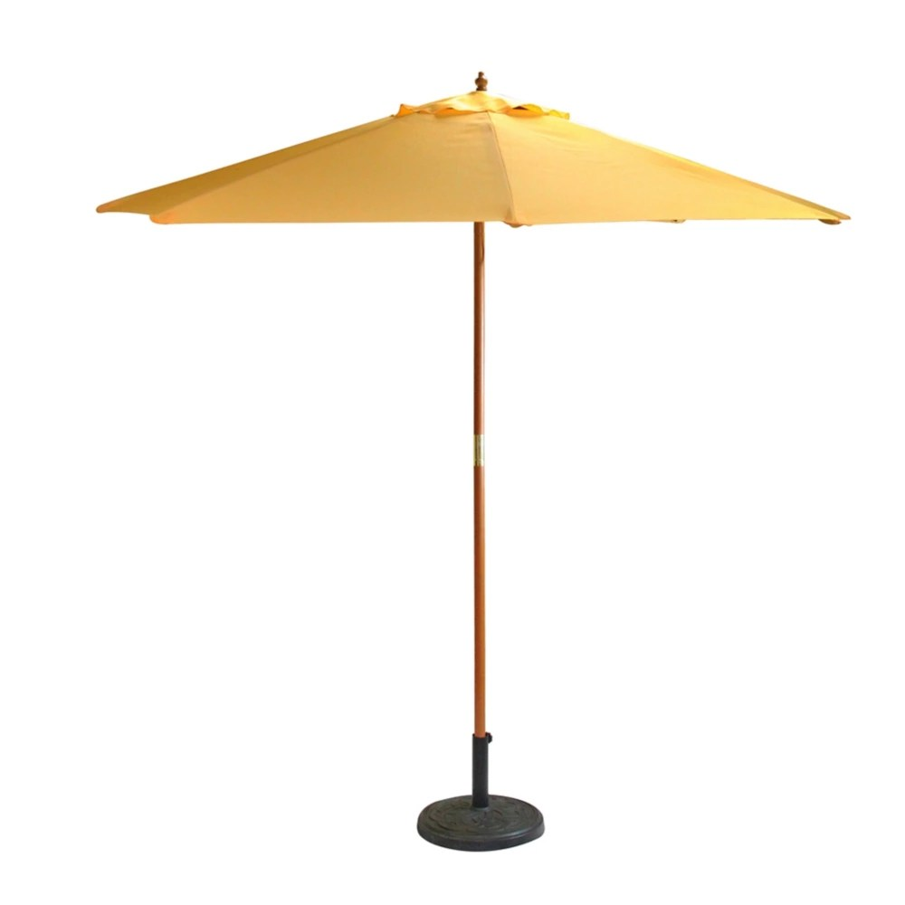 9ft outdoor patio market umbrella with wood pole yellow