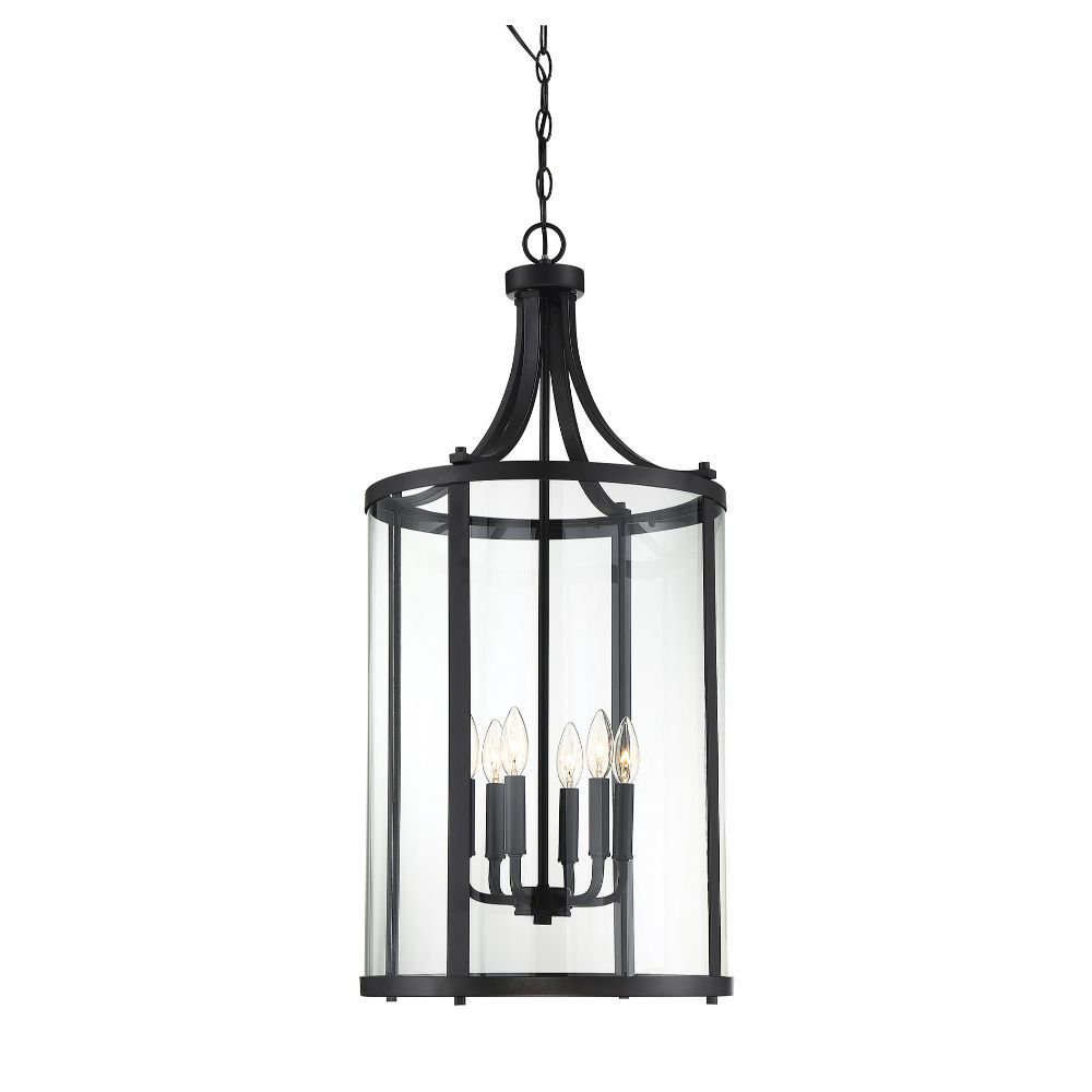 6 light black foyer with clear glass