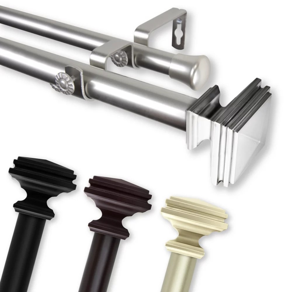 1 in dia adjustable 120 to 170 double curtain rod with bedpost finials in black