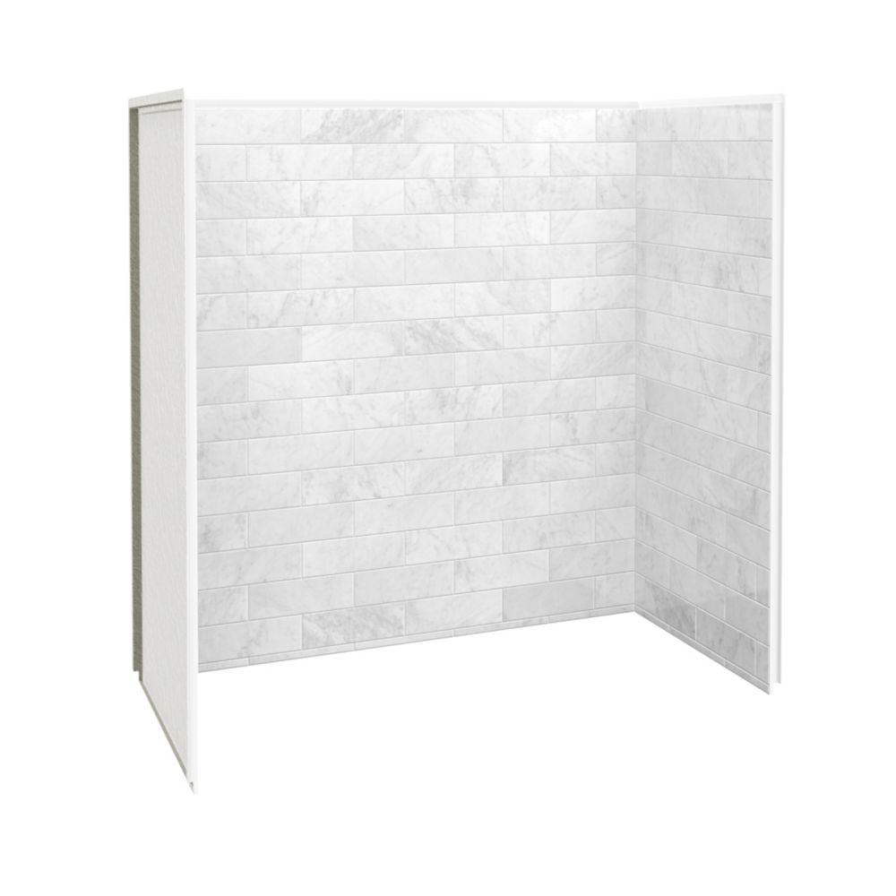 utile 60 inch x 32 inch x 60 inch tub shower wall kit marble carrara 3 panels kit