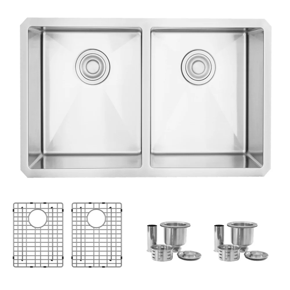 28 x 18 inches undermount double bowl kitchen sink with grids and strainers