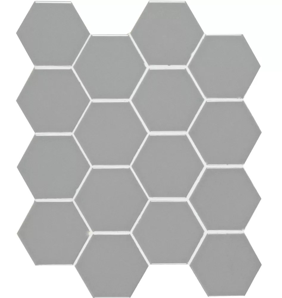 bristol steel hexagon 10 38 in x 11 97 in x 6 mm porcelain mesh mounted mosaic tile 0 86 sq ft