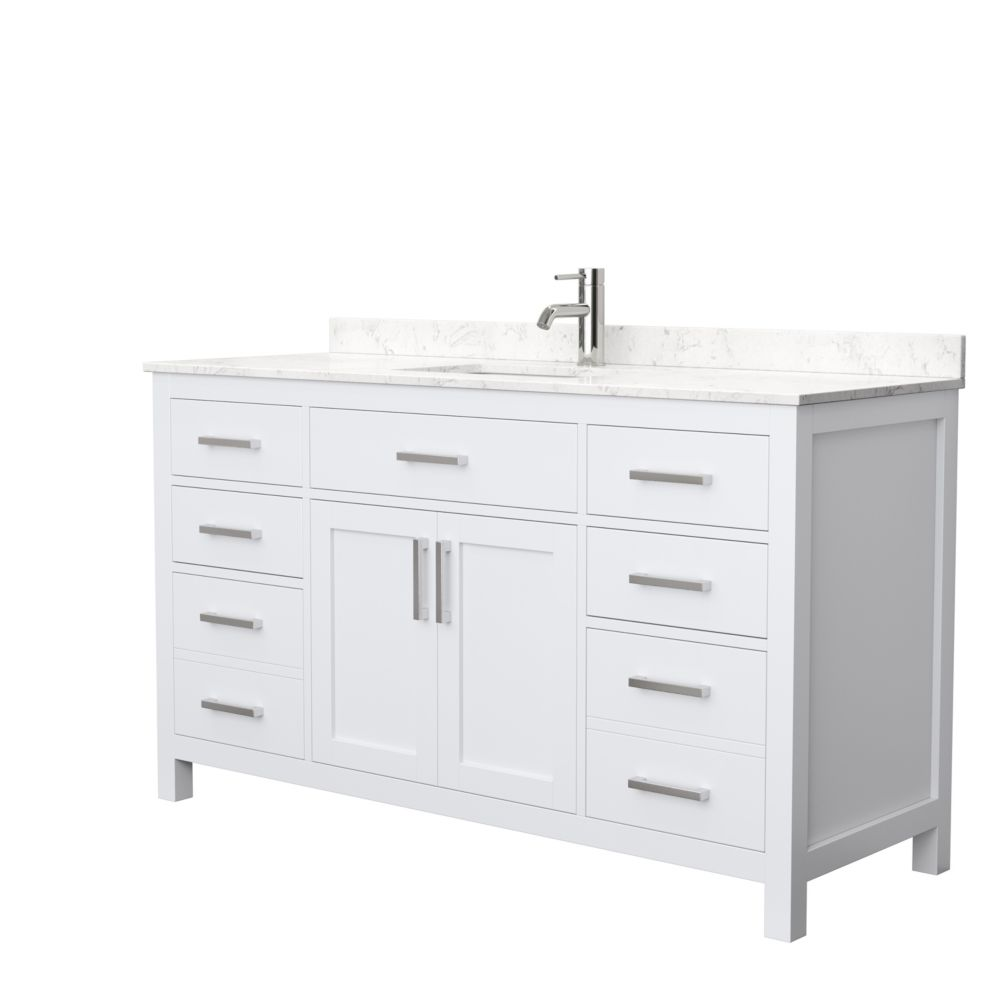 beckett 60 inch single vanity in white carrara cultured marble top square sink no mirror