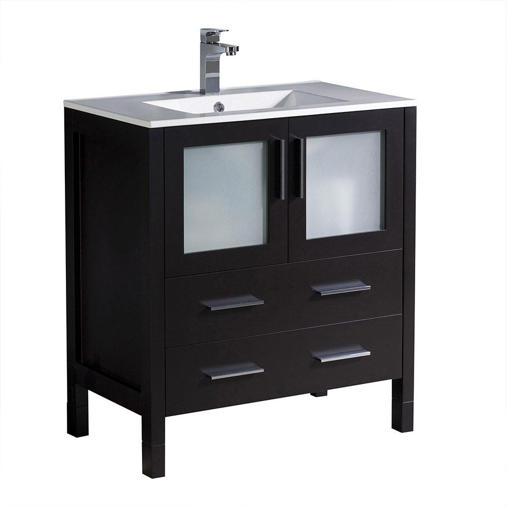 torino meuble lavabo 30 po espresso avec dessus de meuble lavabo blanc et avec evier sous comptoir
