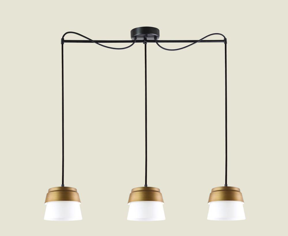 luminaire suspendu noir et or a 3 lumieres de la collection canaries