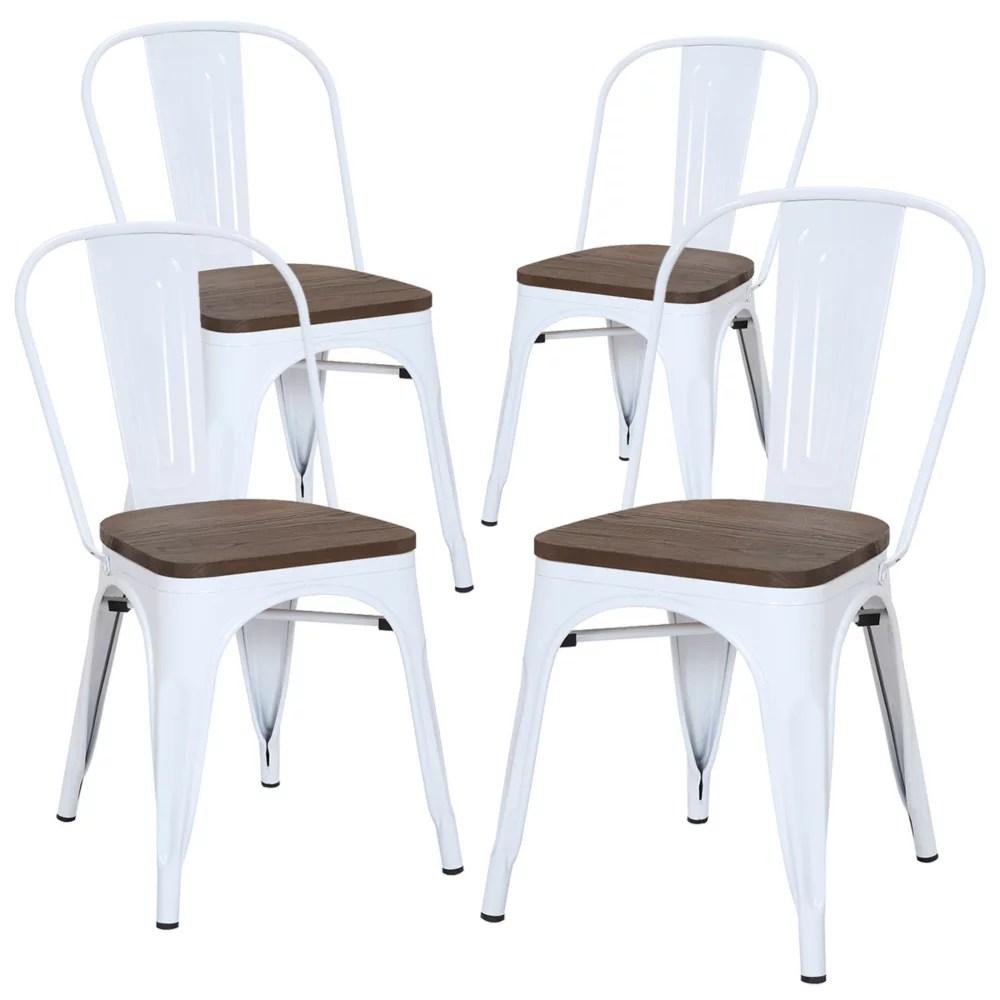 chaise de salle a manger en metal avec assise et haut dossier en bois d orme fonce blanc lot de 4