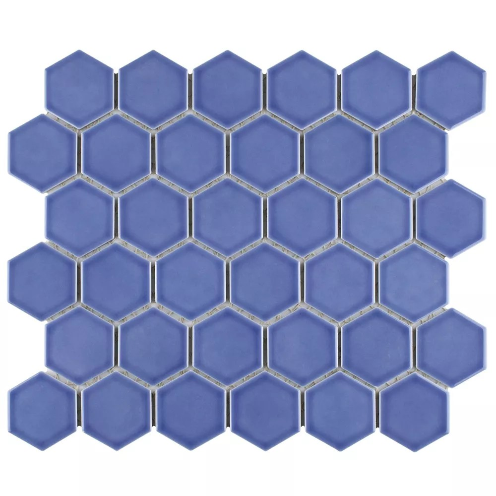 tribeca 2 hex glossy 12 5 8 x10 5 8 periwinkle porcelain mosaic 9 96 sq ft case