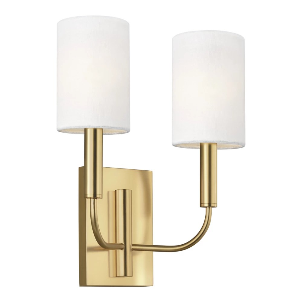 brianna 11 375 in w 2 light burnished brass sconce with white shades