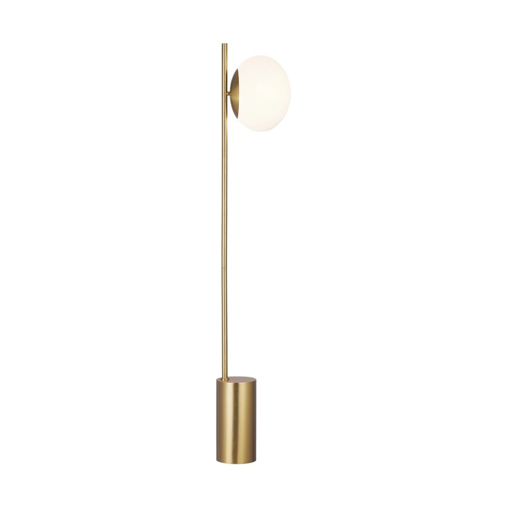 lune burnished brass 66 in h floor lamp with milk glass shade