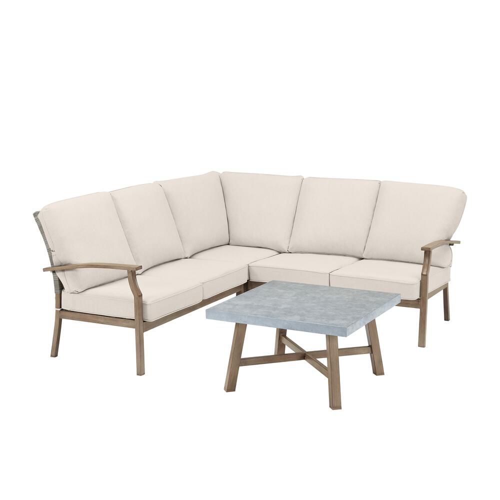 beachside rope look wicker outdoor patio sectional sofa seating set with cushionguard tan cushions