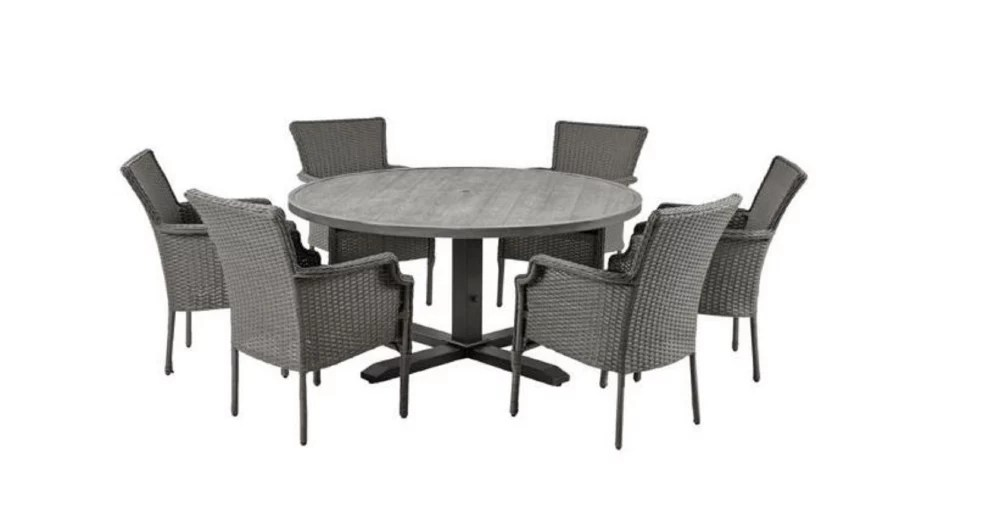 grayson 7 piece ash gray wicker outdoor patio dining set with standard midnight navy blue cushions