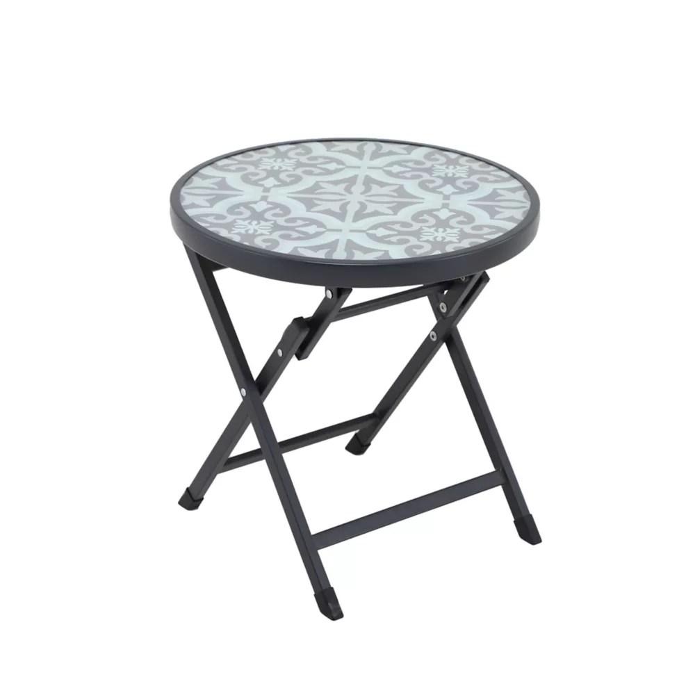 mix match round folding mosaic glass patio accent table