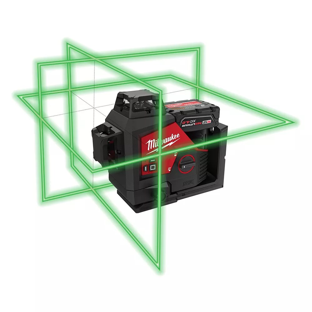 Milwaukee Tool M12 12v Lithium Ion Green 250 Ft 3 Plane Laser Level Kit With One 4 0 Ah B The Home Depot Canada
