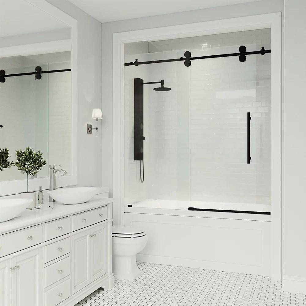 elan porte de baignoire coulissante sans cadre de 56 a 60 po x 66 po transparent noir mat