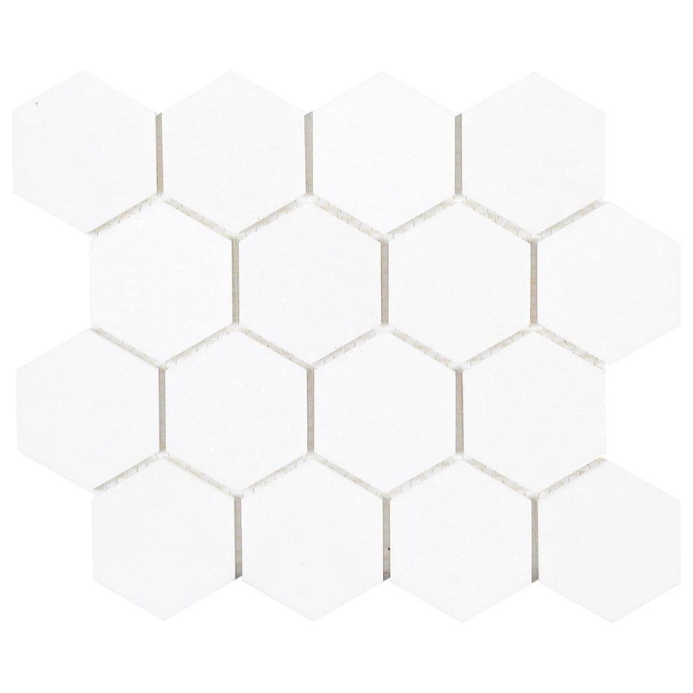 dream hex white 10 875 in x 9 5 in x 8 mm honed natural stone mosaic floor and wall tile