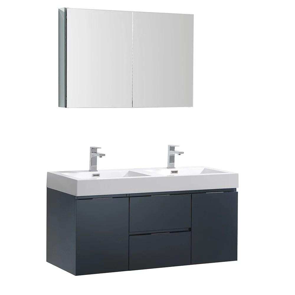 valencia 48 inch dark slate grey wall hung double sink bathroom vanity with acrylic top med cabinet