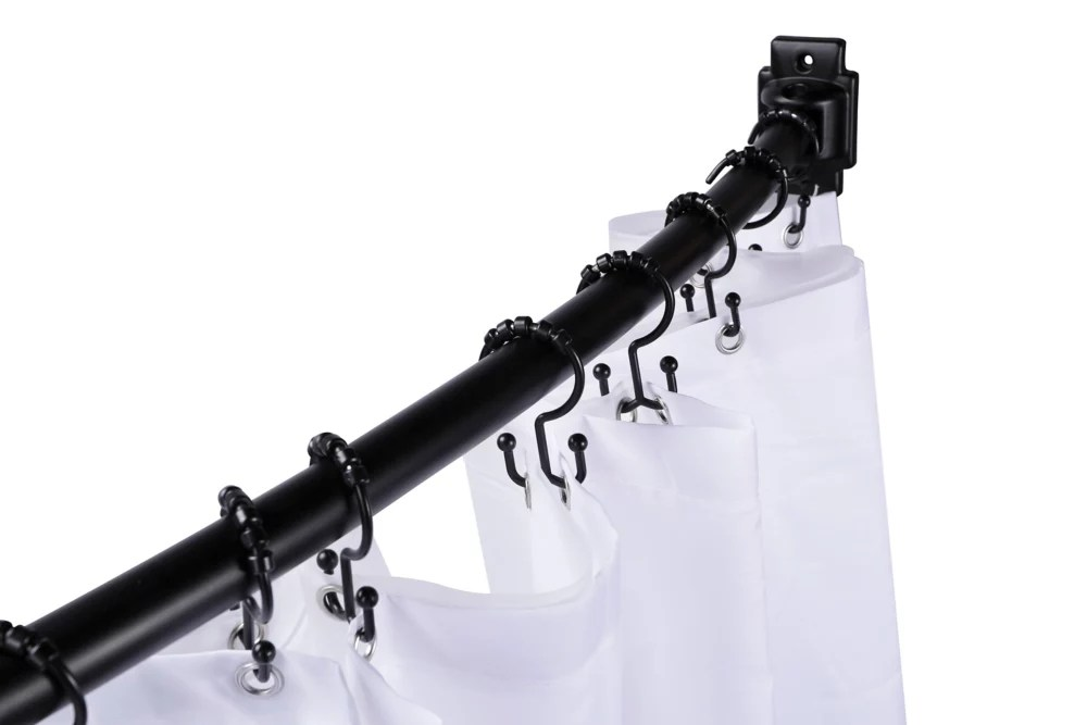 48 inch to 72 inch extendable curved shower rod in black with white shower curtain and liner
